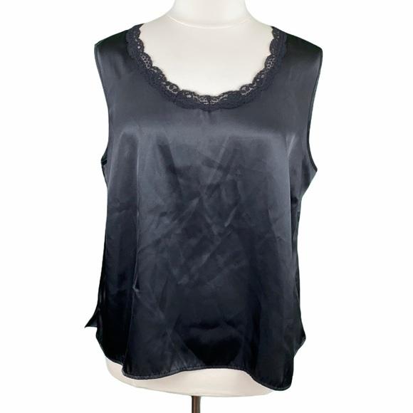 Cato Woman Black Silky Lace Trim Sleeveless Blouse